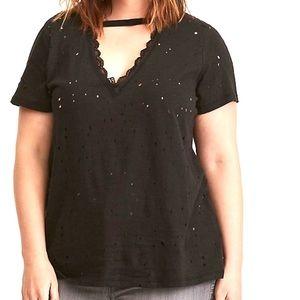 Torrid Distressed Choker T-Shirt